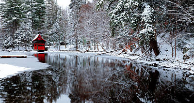 Snowy Brook Photograph - Boathouse In Winter On Beaver Brook by David Patterson