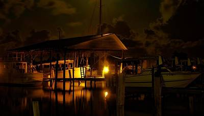 Digital Art - Boathouse Night Glow by Michael Thomas