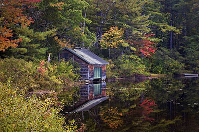 Boathouse Reflection Art Print by Eric Gendron
