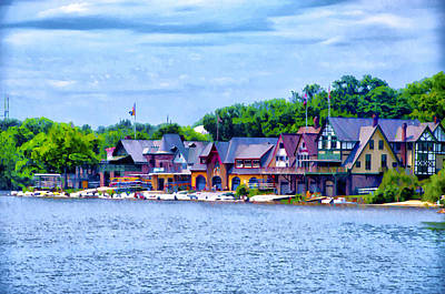 Boathouse Row Digital Art - Boathouse Row Along The Schuylkill River by Bill Cannon