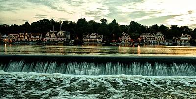 Row Boat Digital Art - Boathouse Row And Fairmount Dam by Bill Cannon
