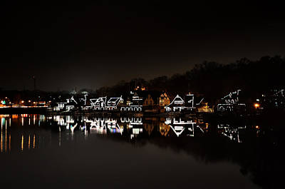 Boathouse Row At Night Art Print by Bill Cannon