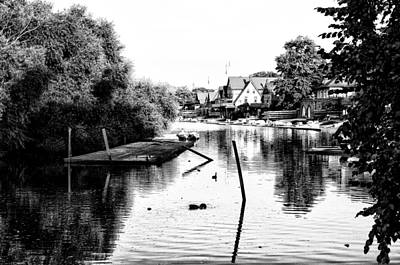 Rowing Crew Digital Art - Boathouse Row Lagoon In Black And White by Bill Cannon