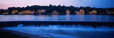 Illuminated Photograph - Boathouse Row Lit Up At Dusk by Panoramic Images