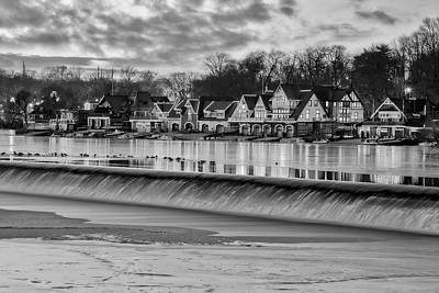 Photograph - Boathouse Row Philadelphia Pa Bw by Susan Candelario