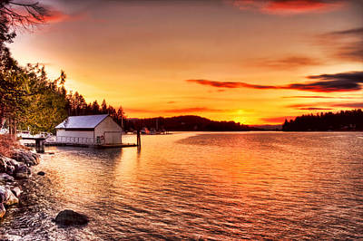 Photograph - Boathouse Sunset On The Sunshine Coast by Peggy Collins