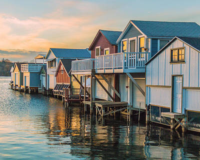 Canandaigua Lake Photograph - Boathouses In The Golden Hour by Lou Cardinale