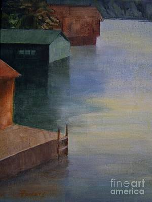 Art Print featuring the painting Boathouses by Mary Lynne Powers