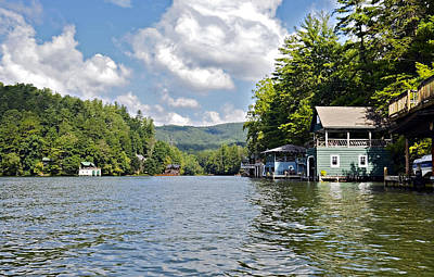 Photograph - Boathouses On The Lake by Susan Leggett