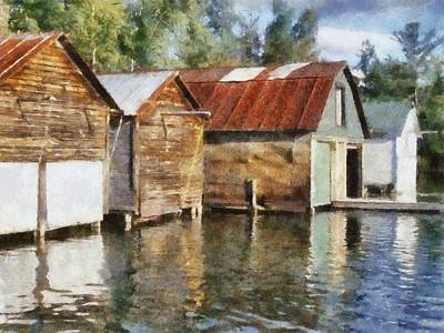 Boathouses On The Torch River Ll Art Print by Michelle Calkins
