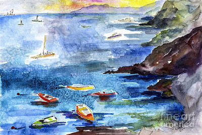 Blau Painting - Boating In Italy Watercolor  by Ginette Callaway