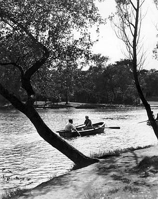 Photograph - Boating In Lincoln Park by Underwood Archives