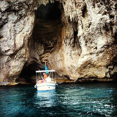 Photograph - Boating In The Grotto by H Hoffman