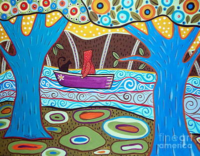 Folk Art Painting - Boating by Karla Gerard