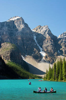 Boating, Moraine Lake, Reflection Print by Michel Hersen