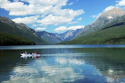 Boating On Bowman Lake, Glacier Print by Michel Hersen
