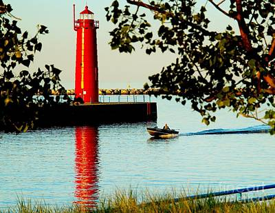 Muskegon Lighthouse Wall Art - Photograph - Boating On Muskegon Channel by Nick Zelinsky