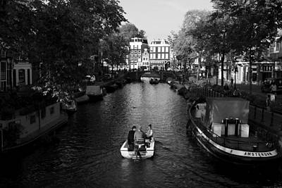 Boating On The Canals Of Amsterdam Art Print by Aidan Moran