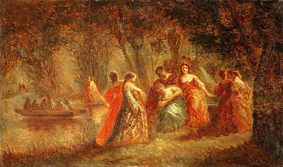 Fantasy Tree Art Painting - Boating Party by Adolphe-Joseph-Thomas Monticell