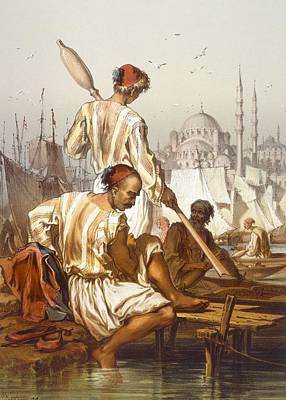 Turkey Drawing - Boatmen, 1865 by Amadeo Preziosi