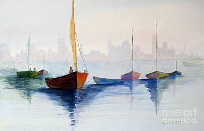 Boats Against The Skyline Art Print by Sandy Linden