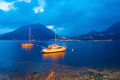 Lake Como Photograph - Boats Anchored In The Lake Como by Panoramic Images