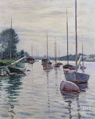 Sailboat Ocean Painting - Boats Anchored On The Seine by Gustave Caillebotte