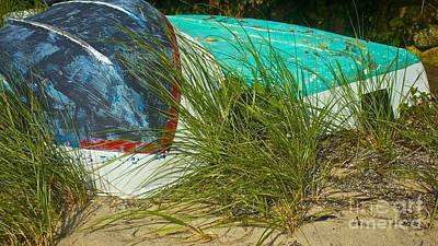 Boats And Beachgrass Art Print by Amazing Jules