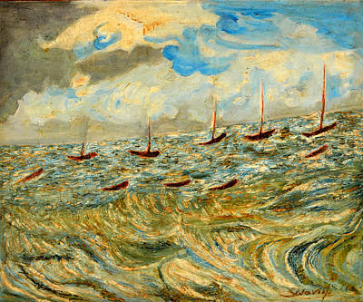Painting - Boats And Boats In Sea by Anand Swaroop Manchiraju