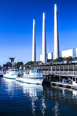 Photograph - Boats And Power Plant Reflection At Fishermans Wharf Morro Bay Marina Fine Art Photography Print by Jerry Cowart
