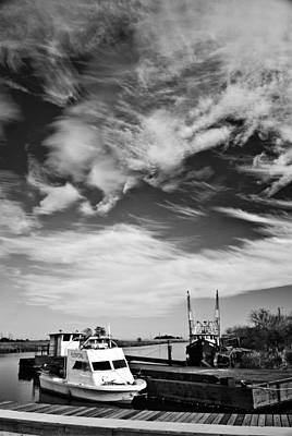 Boats And Sky Bw Art Print