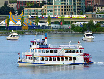 Photograph - Boats And Skytrain by Laurie Tsemak