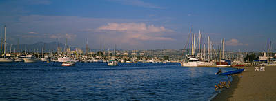 Beach Nobody Photograph - Boats At A Harbor, Newport Beach by Panoramic Images