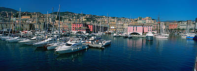 Boats At A Harbor, Porto Antico, Genoa Art Print by Panoramic Images