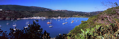 Boats At A Harbor, Porto Azzurro Art Print by Panoramic Images