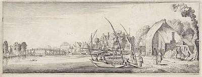 Boats At A Village On A River, Jan Van De Velde II Art Print by Jan Van De Velde (ii)