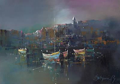 Boats At Dusk Art Print by Branko Dimitrijevic