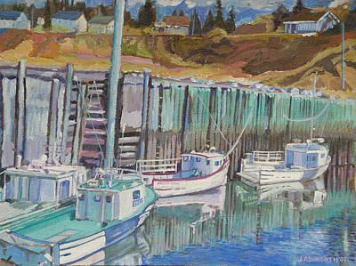 Boats At Halls Harbour Art Print by Janet Ashworth