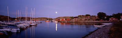 Moonlit Photograph - Boats At Harbor, Bohuslan, Gotaland by Panoramic Images