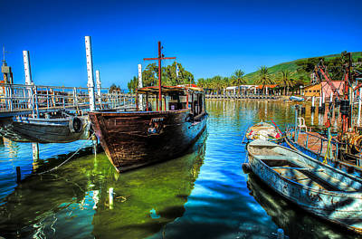 Boats At Kibbutz On Sea Galilee Art Print