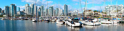 Boats At Marina With Vancouver Skylines Art Print by Panoramic Images