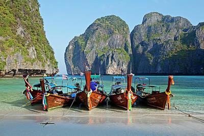 Longtail Wall Art - Photograph - Boats At Maya Bay, Phi Phi Ley by John W Banagan