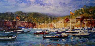 Boats At Portofino Italy  Art Print by R W Goetting
