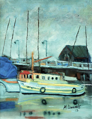 Art Print featuring the painting Boats At Provincetown Ma by Michael Daniels