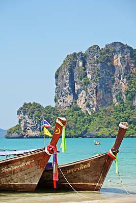 Longtail Wall Art - Photograph - Boats At Railay Beach, Krabi, Thailand by John W Banagan