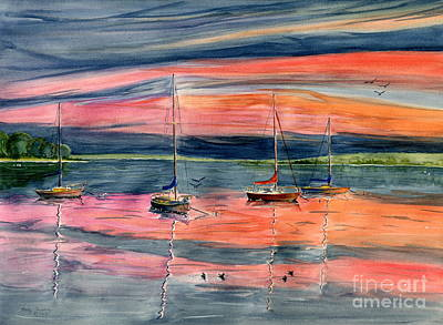 Painting - Boats At Skaneateles Lake Ny by Melly Terpening
