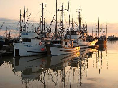 Boats At Steveston Harbour  Art Print by Shirley Sirois