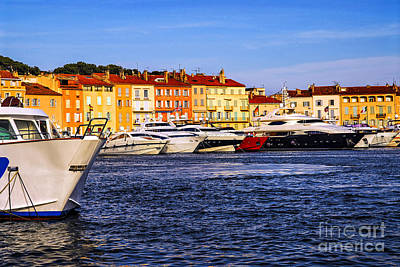 Boats At St.tropez Harbor Art Print