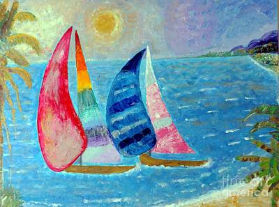 Painting - Boats At Sunset 2 by Vicky Tarcau