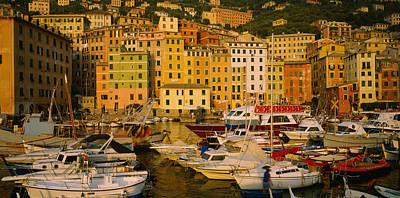 Boats At The Harbor, Camogli, Liguria Art Print
